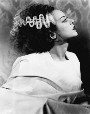 "Elsa Lanchester en ""La Novia de Frankenstein""."